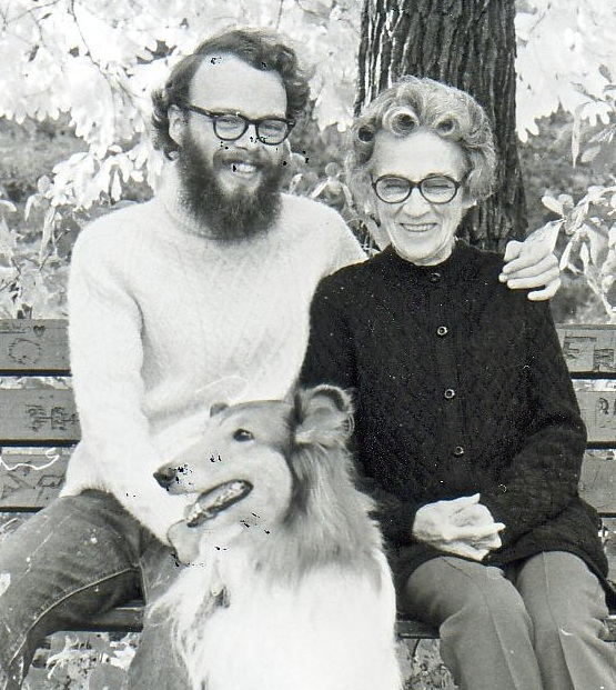 David with his grandmother and Duchess, the family dog